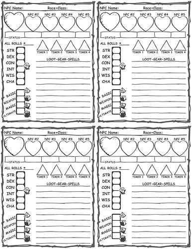 NPC_Simple_Small_Sheets